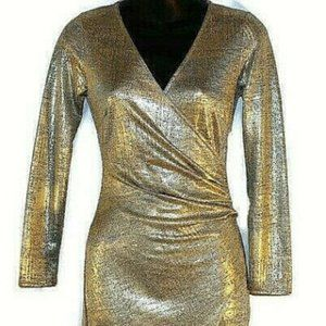 Long Sleeve Metallic Side Rouched Dress Size S